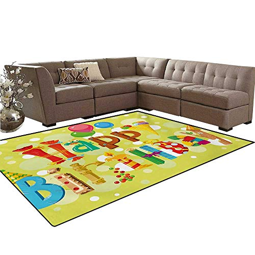 Birthday Door Mats Area Rug Happy Birthday in Cute Shapes Funny Figures with Ice Cream Candies and Balloons Anti-Skid Area Rugs 6'x9' Multicolor