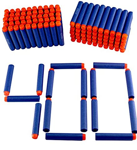 Nerf Darts 400 Compatible Bullets Hard Head for Elite N Strike Refill Series Pack for Kid Toy Gun Fire Blaster by ZTOZZ (Blue Hard Tip, (Foam Disk Refill)