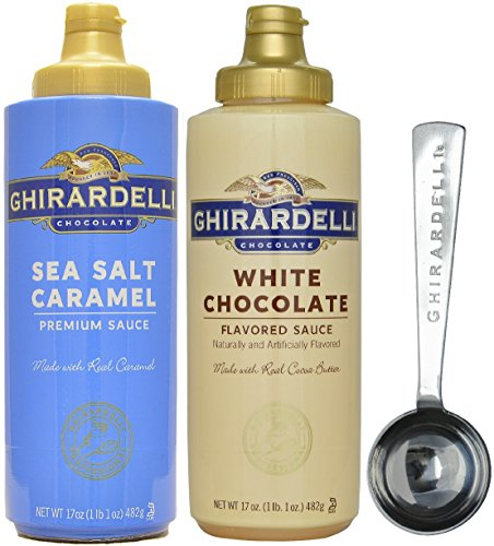 Ghirardelli - Sea Salt Caramel and White Chocolate Flavored Sauce (Set of 2) - with Limited Edition Measuring Spoon by Ghirardelli