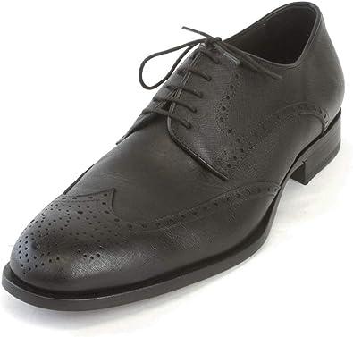 Saffiano Leather Shoes, Black, Sz 11