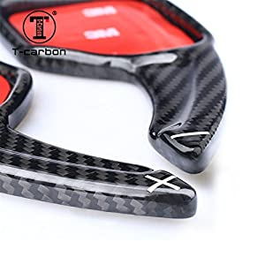 Genuine Pure Carbon Fiber Car Steering Wheel Shift Paddle Blade Shifter Extension For Audi A3 A4L A5 A6L A7 A8 Q3 Q5 Q7 R8 RS3 RS6 S5 S6 S7 S8 SQ5 TT TTS - Black