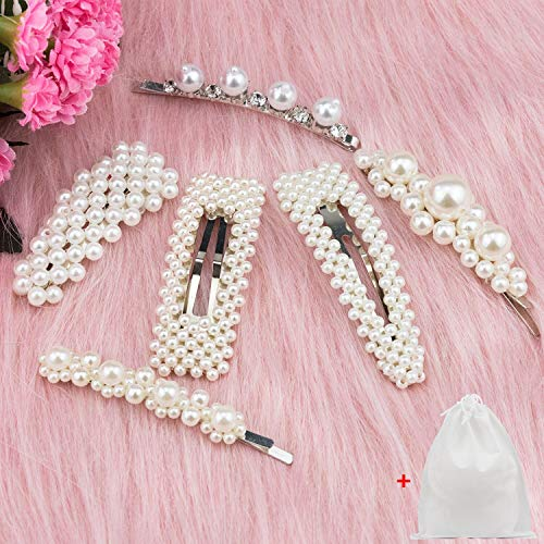 (6 Pieces Pearl Hair Clip Hair Barrettes Decorative Handmade Pearl Hair Brooches Wedding Hairpins Hair Styling Accessories with 1 Gift Bag for Women Girls By)