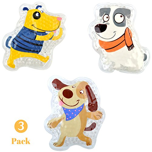 FOMI Kids Fun Pain Relieving Hot Cold Boo Boos Ice Packs. 3-Pack. Orange Scented Animal Dog Designs. Children