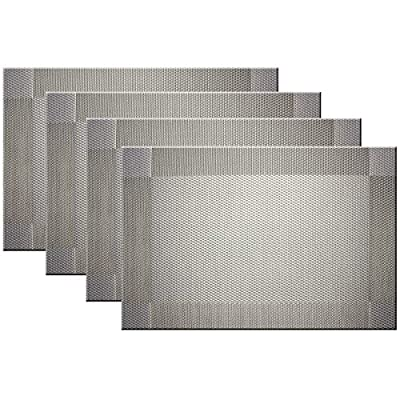 Bright Dream Placemats Easy to Clean Plastic Placemat Washable for Kitchen Table Heat-resistand Woven Vinyl Table Mats 12x18 inches Set of 4 (Grey - Placemats 70% PVC and 30% Polyester,18x12 Inch /45x30cm. Eco-Friendly Kitchen Accessories Washable,Non-fading,Non-stain,Not mildew,Wipe Clean. - placemats, kitchen-dining-room-table-linens, kitchen-dining-room - 51XmpP8EjtL. SS400  -