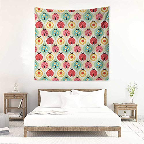 Willsd Kids DIY Tapestry Ladybugs Cartoon Pattern with Retro Polka Dots Daisy Blossoms and Little Hearts Love Tapestry for Home Decor 70W x 70L INCH Multicolor
