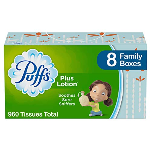- Puffs Plus Lotion Facial Tissues, 8 Family Boxes, 120 Tissues per Box