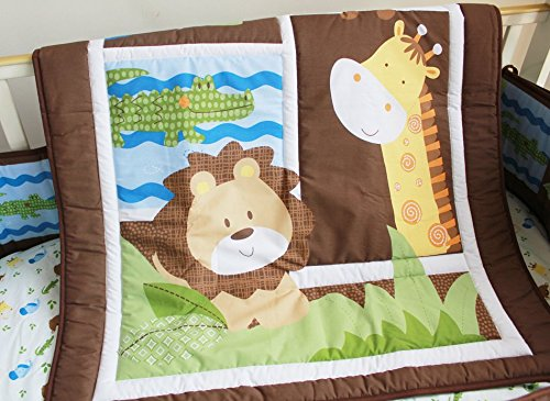 NAUGHTYBOSS Unisex Baby Bedding Set Cotton Primeval Forest Monkey Crocodile Animals Pattern Quilt Bumper Bedskirt Fitted Diaper Bag 8 Pieces Set by NAUGHTYBOSS (Image #3)