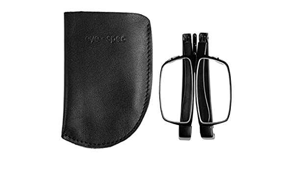 cb02bca095 Amazon.com  eye-contact  Cool Stylish Black Stainless Steel Framed Folding  Reading Glasses With Soft Genuine Leather Pouch (+1.00