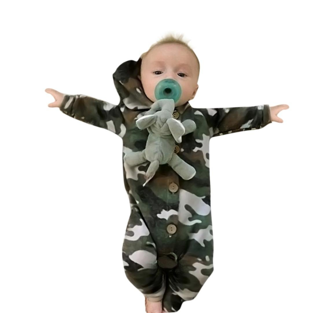 Voberry Toddler Newborn Infant Baby Boy Girl Long Sleeve Camouflage Hooded Romper Jumpsuit Clothes