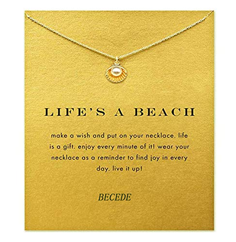 BECEDE Card Necklace Butterfly Palm Aliens Lotus Cat-Ears Lucky Bird Pendant Chain Necklace with Meaning Card (Shell-Gold)