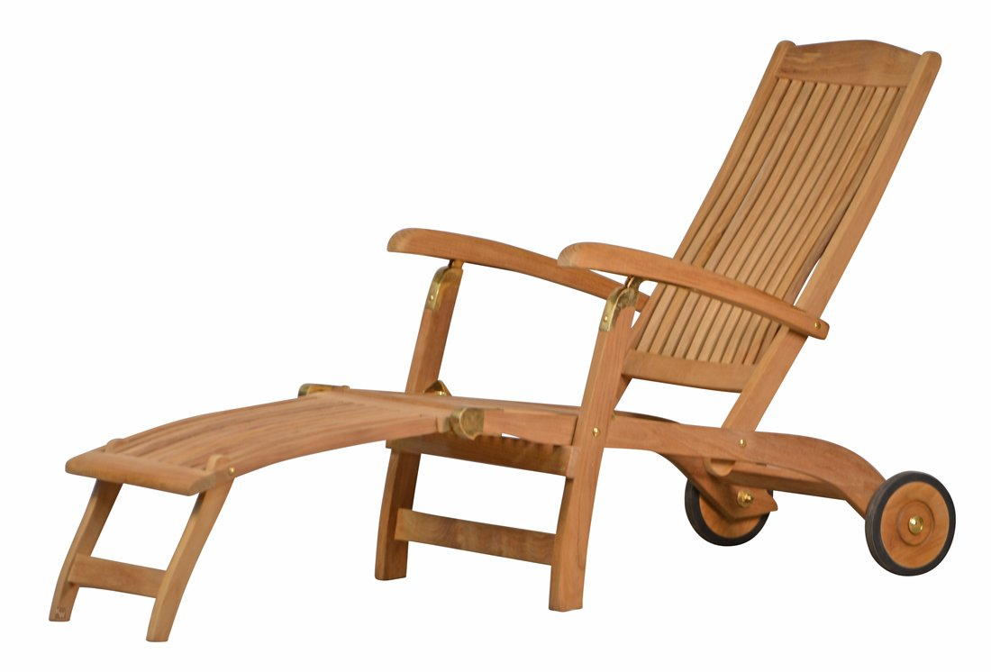 Premium Teak Deckchair aus der Serie Brighton gefertigt aus Teakholz mit Rad/ massiv/ Liege/ Sonnenliege/ Liegestuhl/ Gartenliege/ Gartenmöbel/ Holz-Liege/ Teak-Liege/ klappbar/ zusammenklappbar/ Premium-Qualität