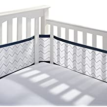 Breathable Baby 12413 Crib Liner, Grey/Navy Chevron