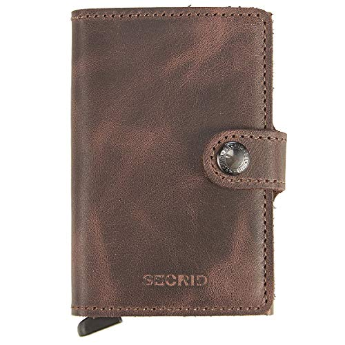Secrid Mini Wallet, Vintage Chocolate, Genuine Leather with RFID Protection, Holds up to 12 Cards