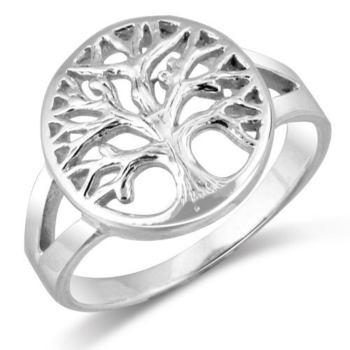 MIMI Sterling Silver Tarnish-Free Open Tree Of Life Ring Size 5, 6, 7, 8, 9, 10, 11, 12