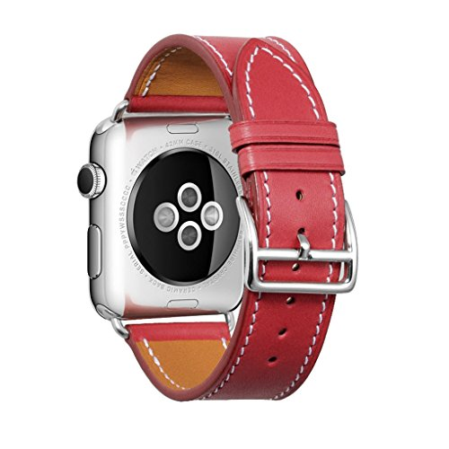 iStrap Apple Watch Band 38mm Series 1 Series 2 Edition Leather Iwatch Strap Wristband Steel Clasp Addaptor (38mm, red)