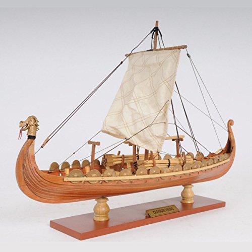 Cheap Aissimio 1:50 DIY Drakkar Dragon Viking Sailboat Unassembled Wooden Scale Model Boat Ship kit Decoration 15x9x12.5inches
