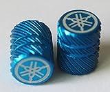 Yamaha 90338-W1018-BU - Set Of 2 Genuine Yamaha Tuning Fork Half Knurl Finish Blue Tyre Tire Valve Caps Dust Caps Protectors For Motorcycles, Bicycles, ATV , Car , Van
