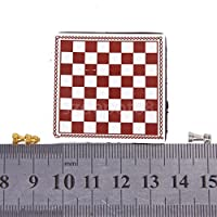 Shallen Vintage Dollhouse Miniature Artist Metal Chess Board Set Play Game Toys 1:12