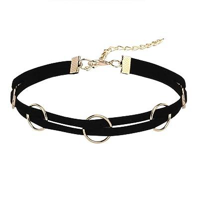 Epinki Damen Choker, Tattoo-Halskette Samt Doppel Halsband O-Ring Form  Anhänger Hoker 58146b73f9