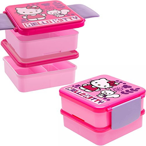 Hello Kitty (2 Sets Of 4pc) Bento Boxes Plastic Kids Lunch Food Storage Containers