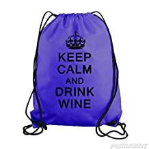 Purple Keep Calm and Drink Wine Drawstring Workout Gym Bag Backpack