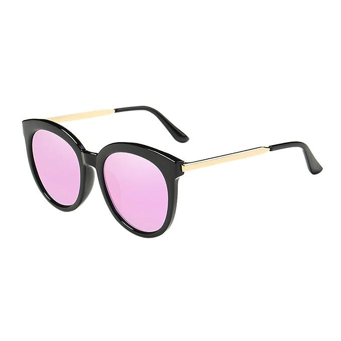 Deylaying Mujer Hombres Marco redondo Metal Marco Espejado Polarizado Miopía Gafas de sol