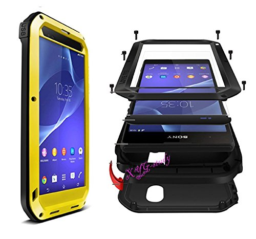 NEW Waterproof Shockproof Aluminum Gorilla Glass Metal Military Heavy Duty Armor Bumper Cover Case for SONY Xperia T2 Ultra @XYG (yellow)