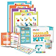 Toddler Learning Kit includes 4 Posters, 58 Flashcards, 58 Practice Book Exercises and 36 Reward Stickers - Learn Letters, Colors, Shapes and Numbers
