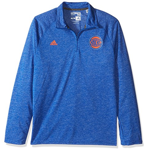 adidas NBA New York Knicks Men's Climalite Ultimate Long Sleeve 1/4 Zip Left Chest Logo Jacket, Black, Medium
