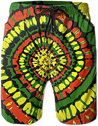 zengdou Bañador de Hombre Rasta Tie Dye Men's Swim Trunks Quick Dry Surf Board Shorts Beach Pant Sportswear Comfortable Breathable