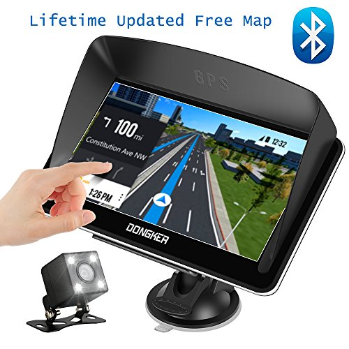 "Car GPS Navigation, 7"" Capacitive Touch Screen + Rear View Camera, DONGKER Voice Prompt GPS Navigation for Car with Lifetime Maps and Traffic, Bluetooth"