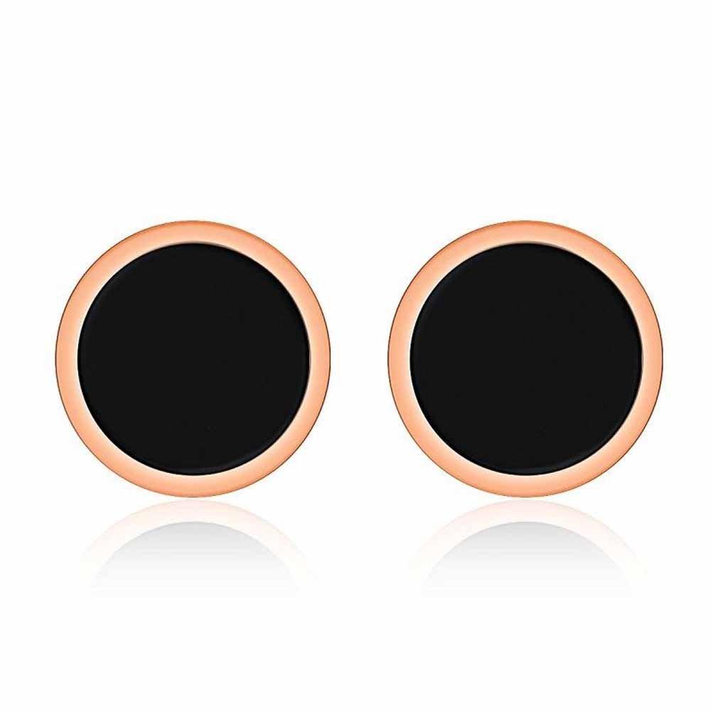 wattana 18K Rose Gold Black Enamel Round Ear Studs Women Titanium Steel Wedding Earrings Wat