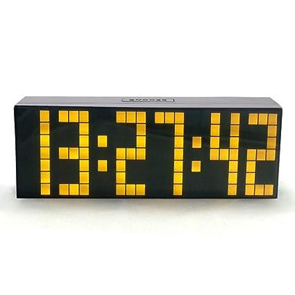 Reloj Despertador Pesado Durmientes Dormitorio Niños Relojes de Escritorio LED Pantalla Digital de Gran Intensidad con