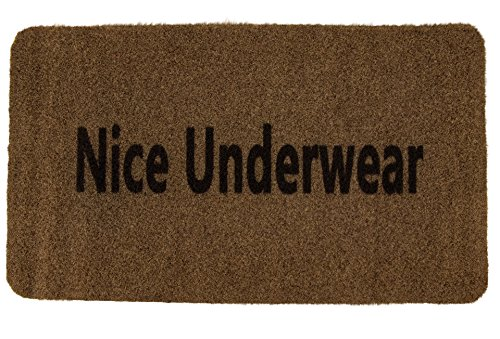 Outdoor Mat – Nice Underwear – Funny Welcome Mat for Front Entrances, Patio Doors, Garage Entrances - All Weather, Durable, and Slip Resistant, Brown, 27.3 x 0.4 x 15.7 Inches