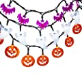 LUCKLED Set of 3 Battery Powered Halloween String Lights, 20 LED Halloween Decorative Lights for Indoor and Outdoor Decorations - White Ghost/Orange Pumpkin/Purple Bat