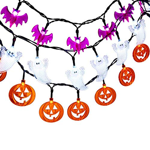 LUCKLED Set of 3 Battery Powered Halloween String Lights, 20 LED Halloween Decorative Lights for Indoor and Outdoor Decorations - White Ghost/Orange Pumpkin/Purple Bat]()