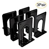Metal Bookend, Economy Universal Nonskid Heavy Duty Bookends for Shelves Office Black 6.69 x 4.9 x 4.3in,3 Pair/6 Piece