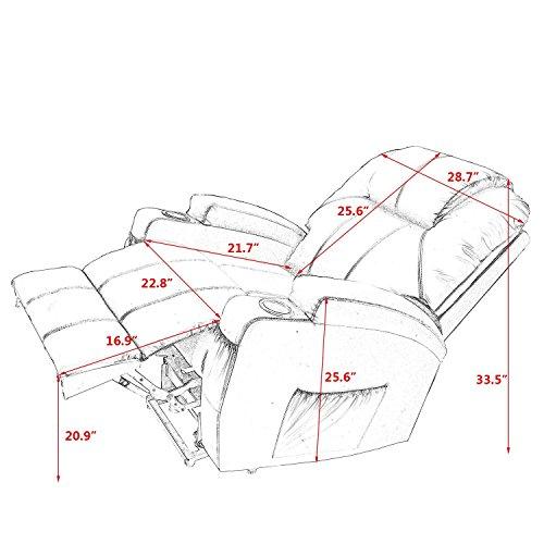 Massage Chair Power Lift Recliner Wall Hugger PU Leather Heated Vibration Wheels 2 Controls (Black)