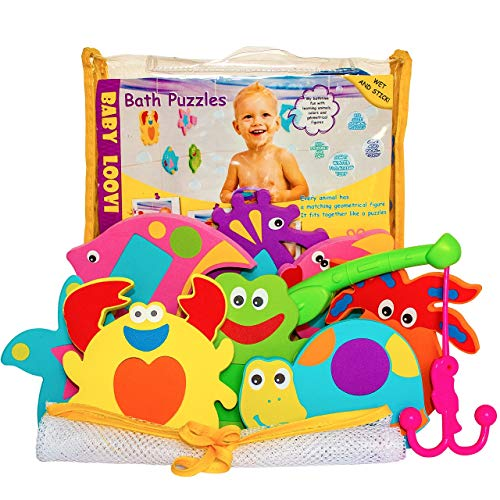 Educational Bath Toys Boys Girls - Early Learning Bath Toys - Foam Bath Toys Puzzles Animals - Fun Floating Educational Toys For Toddlers Kids - Bathtub Storage Mesh Bag-Fishing Rod ()