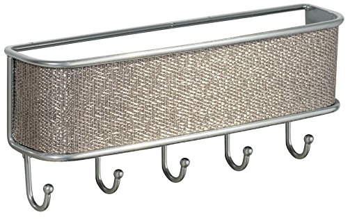InterDesign iDesign Twillo Metal Wall Mount Key and Mail Rack, 5-Hook Organizer for Kitchen, Mudroom, Hallway, Entryway, 10.5