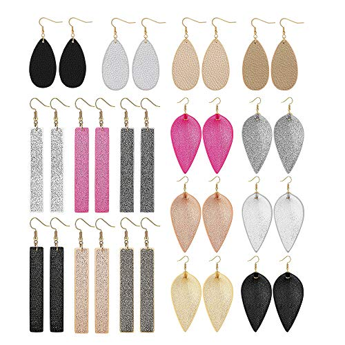 Yadoca Leather Earrings For Women Leaf Earring Teardrop Petal Antique Dangle Earring Sets Lightweight Handmade Birthday/Valentine's Day/Mother's Day Gift