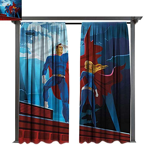cobeDecor Thermal Insulated Drapes Superhero World Justice Defenders for Lawn & Garden, Water & Wind Proof W120 xL72
