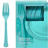 robin egg blue Big Party Pack Plastic Forks| Robin's Egg Blue | Pack of 100 | Party Supply