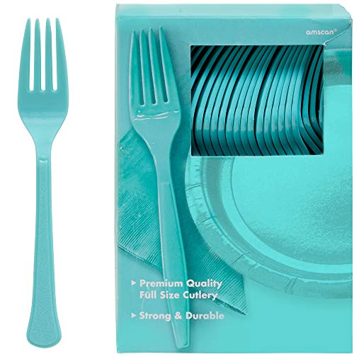 Big Party Pack Plastic Forks| Robin's Egg Blue | Pack of 100 | Party Supply -