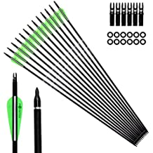 "Pointdo 12pcs 30Inch Archery Carbon Arrow Hunting And Practice Targeting Arrow with Replaceable Tips and 3"" Light Vanes For Recurve Bow& Compound Bow"