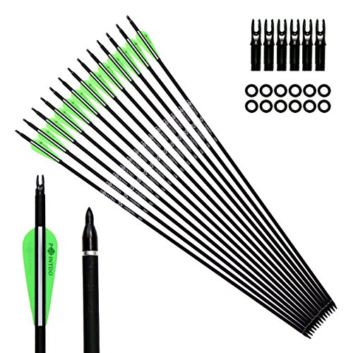 Pointdo 12pcs 30Inch Archery Carbon Arrow Hunting And Practice Targeting Arrow with Replaceable Tips and 3