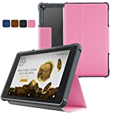 JUNYI Case for All-New Amazon Fire HD 8 Tablet Case (7th Generation, 2017 Release)- Slim-Fit Multi-Angle Folio Cover with Auto Wake/Sleep Functional and Anti-Scratch for Fire HD 8 2017(Pink)