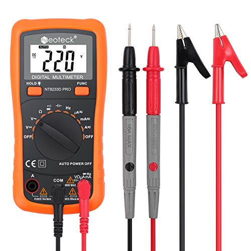 Neoteck Auto Ranging Digital Multimeter AC/DC Voltage Current Ohm Capacitance Frequency Diode Transistor Audible Continuity, Multi Tester with Backlit LCD (Transistor Testing)