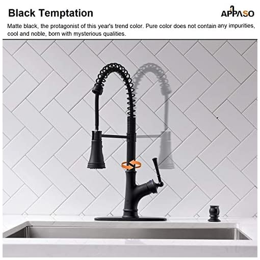 Farmhouse Kitchen APPASO Commercial Matte Black Single Handle Pull Down Kitchen Faucet with 3 Modes Sprayer, Antique Spring Modern Tall… farmhouse sink faucets