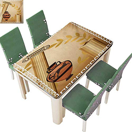 (Fitted Tablecloth,Antique Greek Columns Vase Olive Branch Hellenic Heritage Icons Table Cloths Rectangle Plastic,37.5W X 76.5L Inches(Elastic)